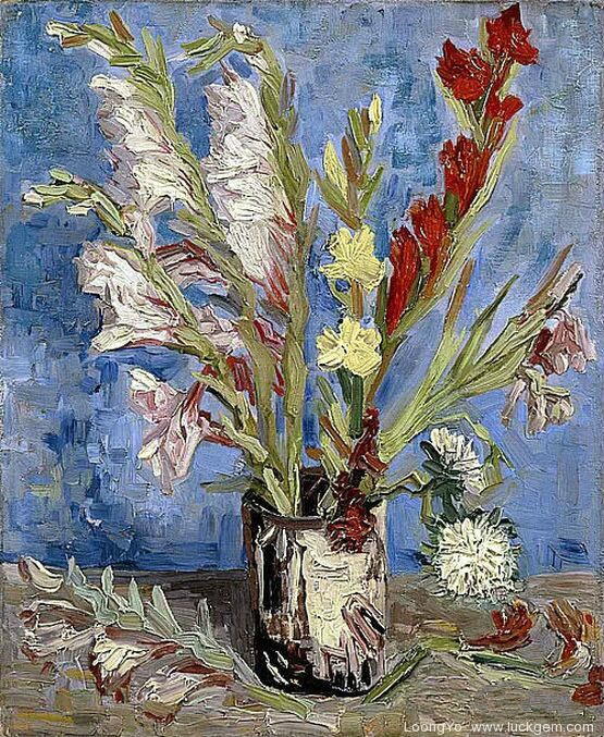 第六期丨梵高《有剑兰和翠菊的花瓶》